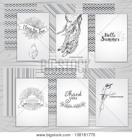 summer collection of cards,  collection of monochrome cards, vector illustration