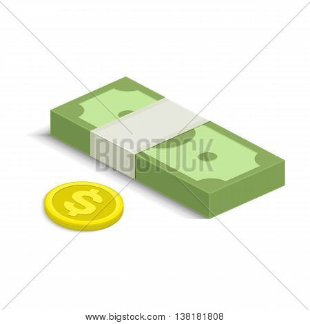 Vector illustration of pile of money. Single flock of cash and coin flat icon, American dollars pack, packet, parcel, batch, package. Modern design isolated on white background. Modern currency icons.