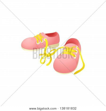 Pink shoes with laces tied together icon in cartoon style on a white background