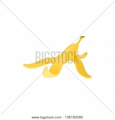 Banana peel icon in cartoon style on a white background