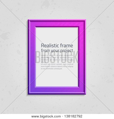 Realistic picture frame wiht text isolated on white background. Bright frame on a wall vector background design for your content. Realistic frame for photos or the text. Modern realistic frame.