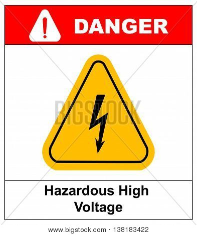 High Voltage Sign. Danger banner with text and exclamation point symbol. Black arrow isolated in yellow triangle on white background. Warning icon. Vector illustration