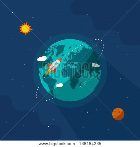 Earth in space vector illustration, rocket space ship flying around planet orbit on solar system universe, moon, starts flat cartoon design