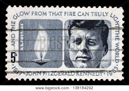 ZAGREB, CROATIA - JULY 03: A stamp printed in USA shows President John Fitzgerald Kennedy, circa 1964, on July 03, 2014, Zagreb, Croatia