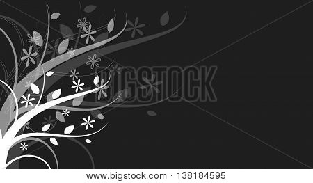 White floral pattern ornaments on dark background