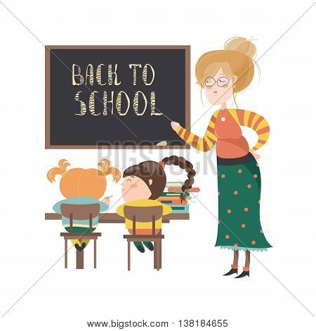 Teacher by blackboard with pupils in the classroom. Vector illustration