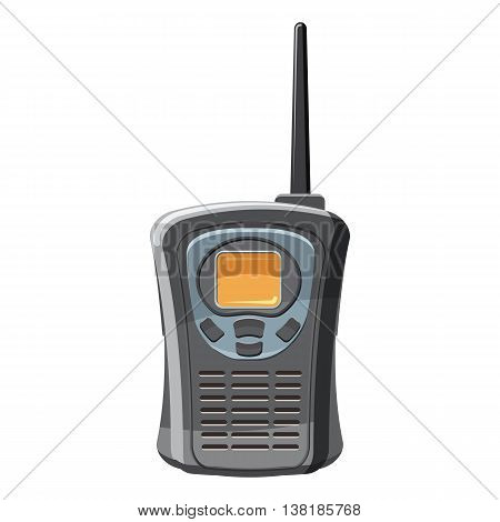 Portable handheld radio icon in cartoon style on a white background