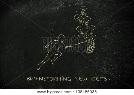 Person Collecting Lightbulbs (ideas) With A Net, Creativity Concept