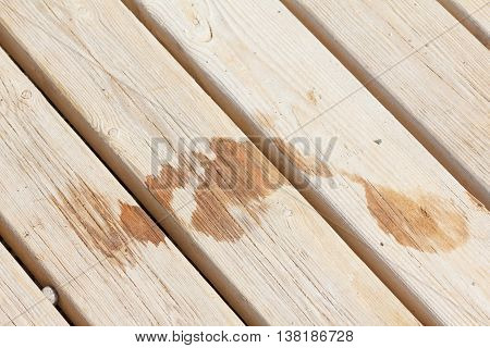 Wet footprint on wood plank on the beach