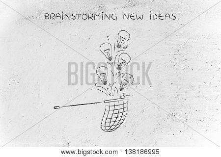 Collecting Lightbulbs (ideas) With A Net, Creativity Concept