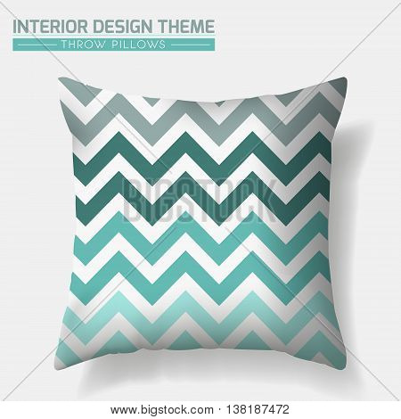 Decorative Zigzag Throw Pillow design template. Original pattern is complete masked. Modern interior design element. Creative Sofa Toss Pillow. Vector design is layered editable
