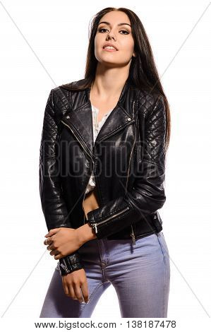 Beautiful Young Brunette Woman In Black Leather Jacket