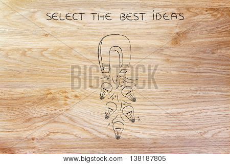 Attracting Lightbulbs (ideas) With Magnet, Creativity Concept