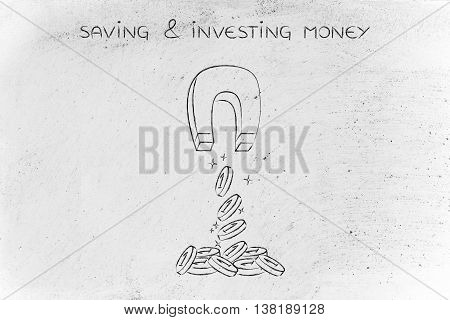Attracting Coins With Magnet, Investment Concept