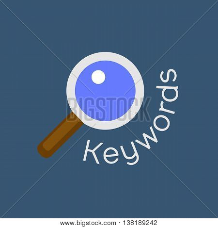 Keywords searching concept with magnifying glass. Vector background for website search engine optimization