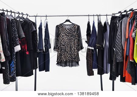 different clothes for females rack display