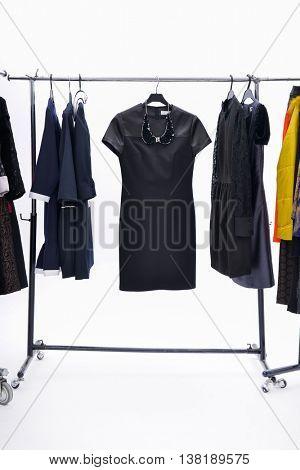 Set of female dress isolated on hanging