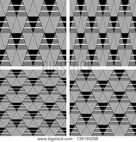 Triangle and diamond shapes patterns. Seamless geometric textures set. Vector art.
