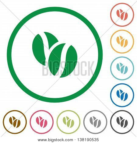 Set of Coffee beans color round outlined flat icons on white background