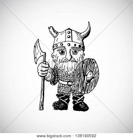 Cartoon viking. Funny cartoon viking with  axe