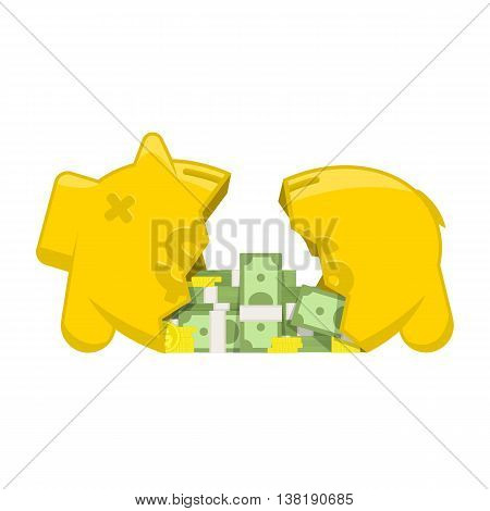Vector illustration broken piggy bank. Flat vector illustration business concept. Broken piggy bank from which poured the coins, money.