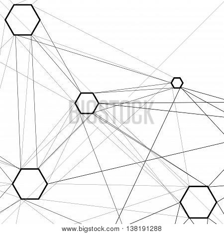 Abstract molecular connection. Technology connection. Connection of  hexagonal cells.