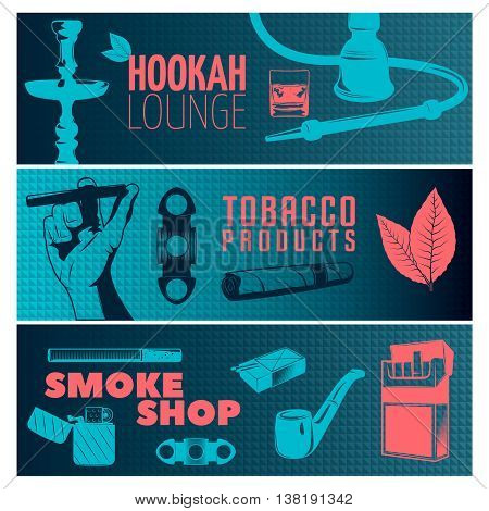 Three horizontal smoking banner set on hookah lounge tobacco products and smoke shop themes vector illustration