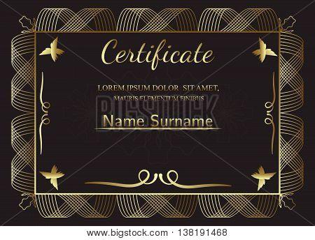 Golden Certificate template. Vintage frame border, retro. Vector illustration.