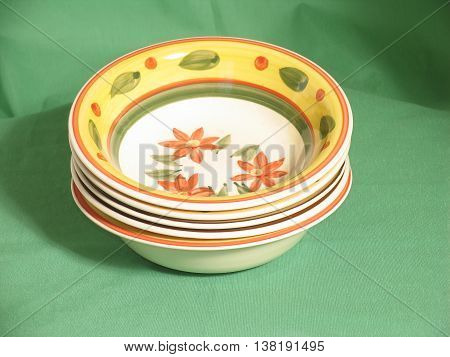 Set Of Six Soup Plates With Orange Rim 01