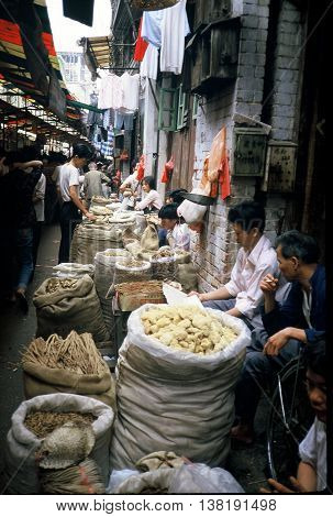 GUANGZHOU / CHINA - CIRCA 1987: Various crops are available for sale in Guangzhou's Qingping Market.