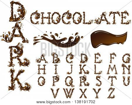 Chocolate splash alphabet