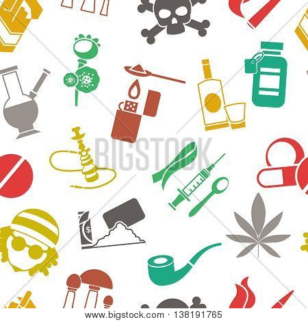 Flat seamless background drugs pattern with isolated colored icons with drugs pills alcohol and cigarettes vector illustration