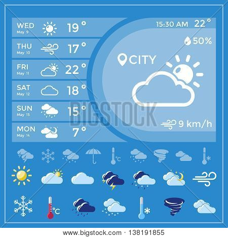 Weather forecast application with temperature for the whole week and icon set at the bottom vector illustration