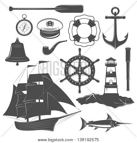 Nautical isolated black icon set equipment and form of the ships captain and marine elements vector illustration