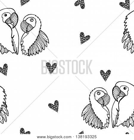 Seamless with two enamored parrots isolated on the white background. Valentine's Day or other greeting card illustration