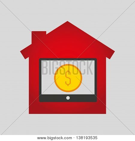 sale house home sold business isolated, vector illustration