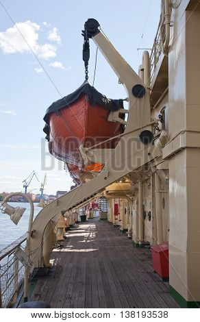 St. Petersburg. Lifeboat of the opened type on the Krasin ice breaker.