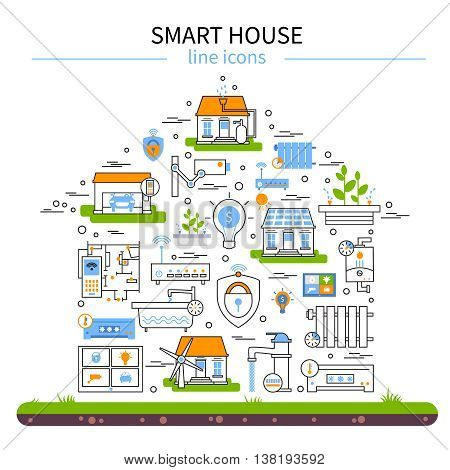 Smart house flat colored icon set in linear style and combined in house shape with technology elements vector illustration