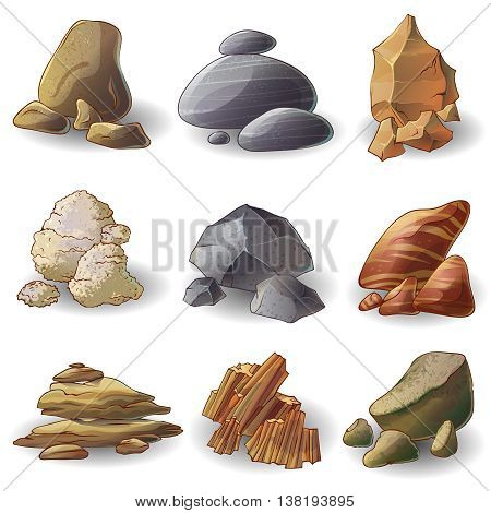 Rocks stones collection of natural minerals with different shape formation and color isolated vector illustration