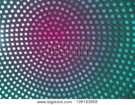 Dotted background of the colorful circles, magenta and turquoise geometric pattern. Abstract modern design background. Photo of stained-glass windows in roof.