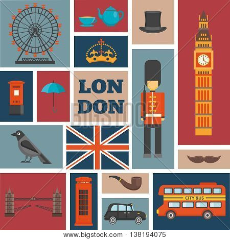 London isolated square icon set chaotic size and arrangement about recognizable features of united kingdom vector illustration