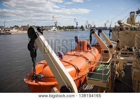St. Petersburg. Lifeboat of the closed type on the Krasin ice breaker.