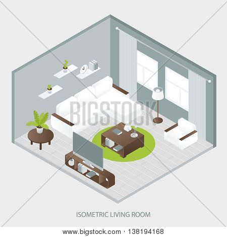 Isometric sitting room with white sofa brown table two windows curtains wall shelves grey parquet  vector illustration