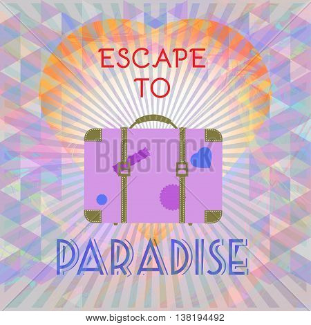 Abstract summer time infographic escape to paradise text a big heart and suitcase Digital vector image