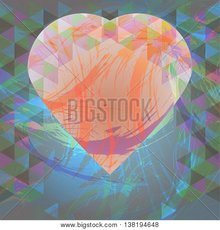 Abstract design with big heart and colored triangles. Digital vector image