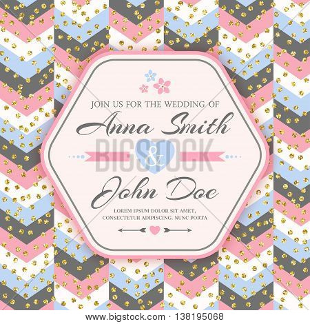 Wedding Invitation Card with chevron background. Vector illustration