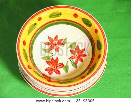 Set Of Five Soup Plates With Orange Rim