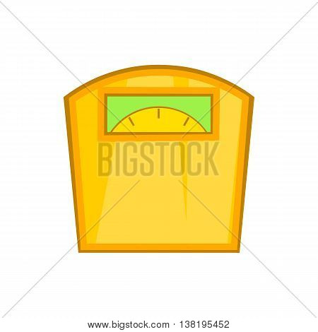 Yellow scales icon in cartoon style isolated on white background. Weighing symbol