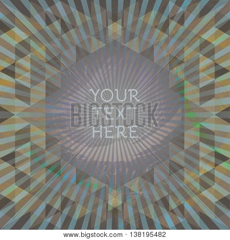 Abstract dark design with your text here and colored triangles. Digital vector image