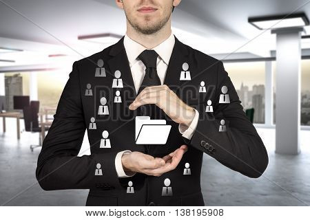 businessman in office protecting folder symbol cloud internet